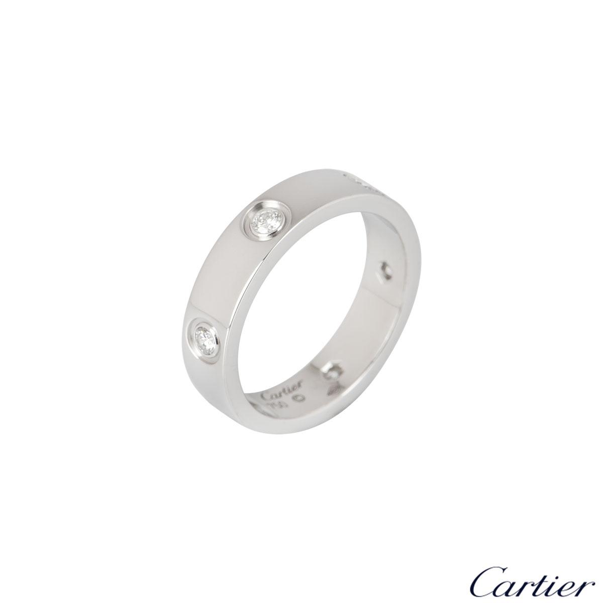 Cartier White Gold Full Diamond Love Ring Size 62 B4026062